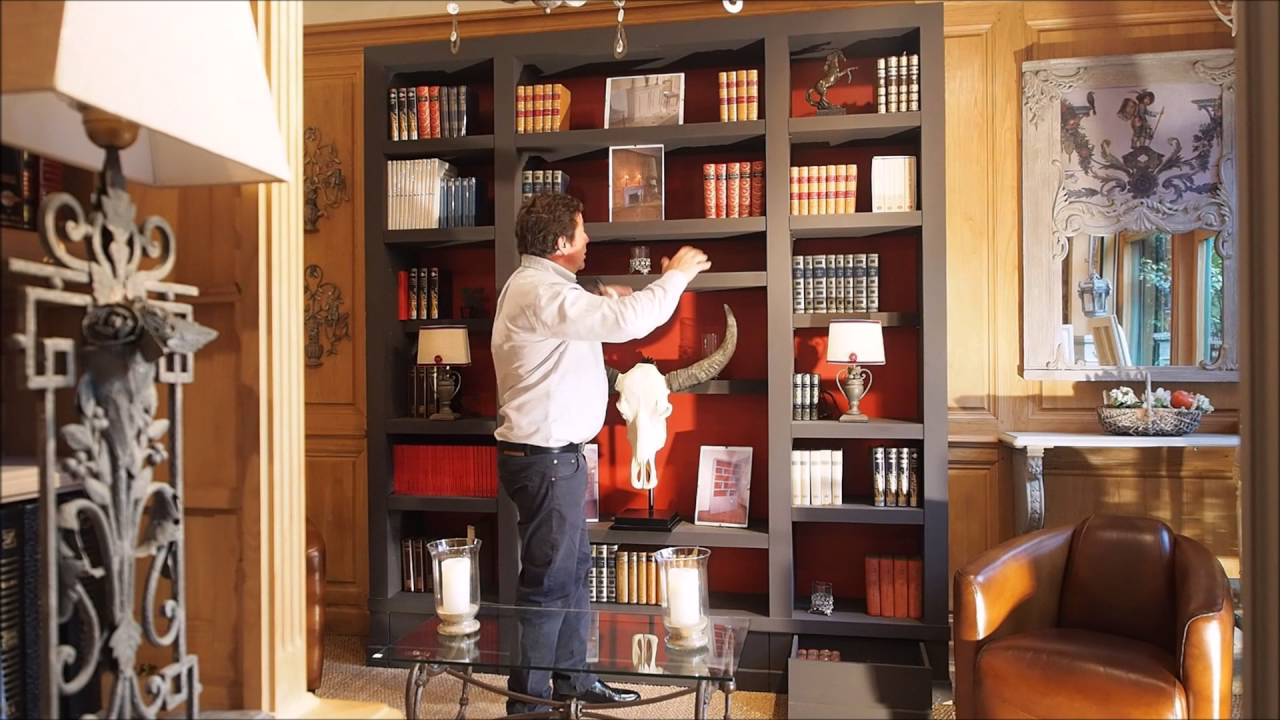 biblioth que contemporaine sur mesure fond orange r alis e par philippe leclercq youtube. Black Bedroom Furniture Sets. Home Design Ideas