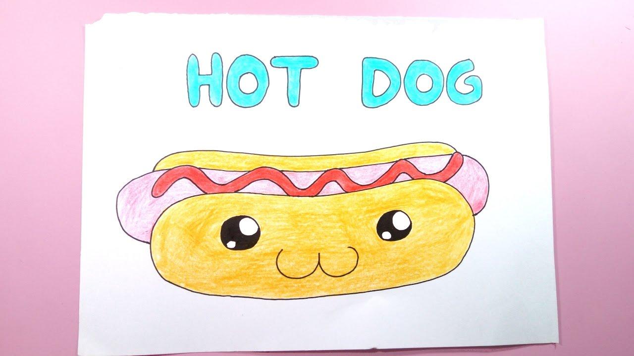 Como dibujar/pintar un hot dog kawaii facil (Comida Kawaii