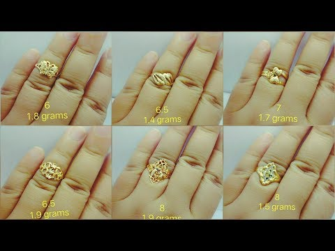Gold light weight rings with weight| gold ring under 2 gm weight