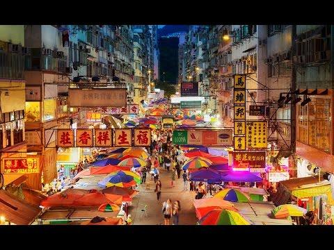 Mong Kok Ladies' Market pedestrian streets in Hong Kong