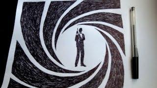 Como desenhar o James Bond 007 com uma caneta normal