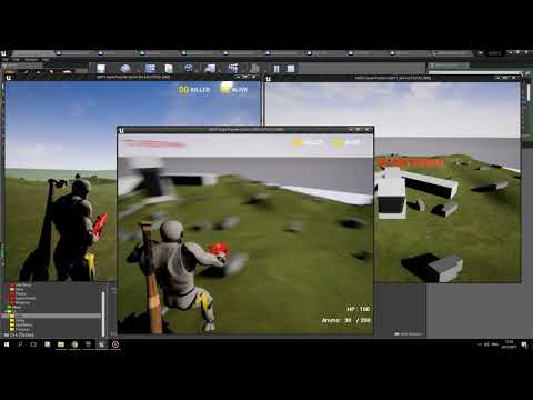 Unreal Engine 4 - Battle Royale Mode. Plane and moving Barri