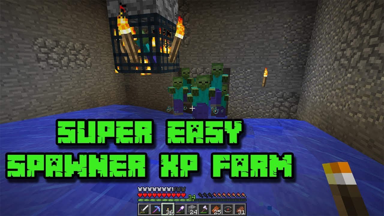 Minecraft 12.124 - Spawner XP Farm - Zombie And Skeleton - SUPER EASY AND  SUPER FAST