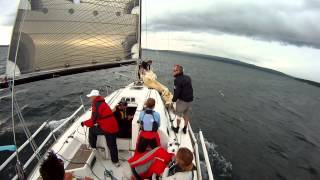 Squall hits during a sailboat race