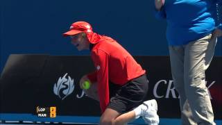 ball kid hit by a feliciano lopez serve   australian open 2015