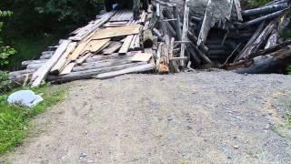 Проезд через разрушенный мост в Чалне .Карелия