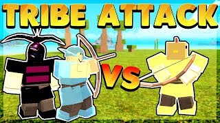 Massive Tribe attacks one God Player (Roblox Booga Booga)