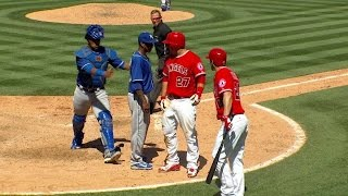 KC@LAA: Benches clear after Pujols\' RBI double