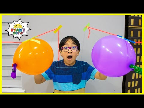 How to make a balloon Rocket Race Easy DIY Experiment for Kids!!