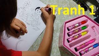 Bé tô màu tranh công chúa bằng hộp màu 4 tầng - Hướng dẫn cách in tranh tô màu miễn phí