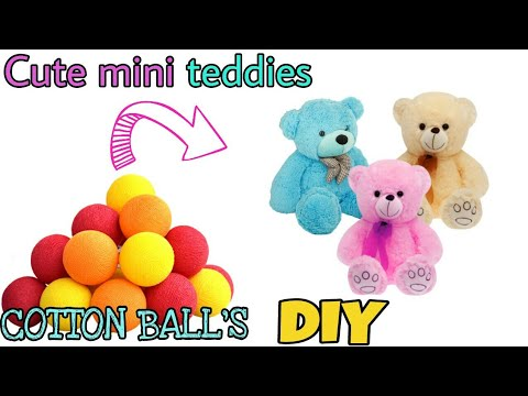 Download How to make teddy bear with cotton at home | diy cotton teddy bear | yarn teddy | cotton doll diy.