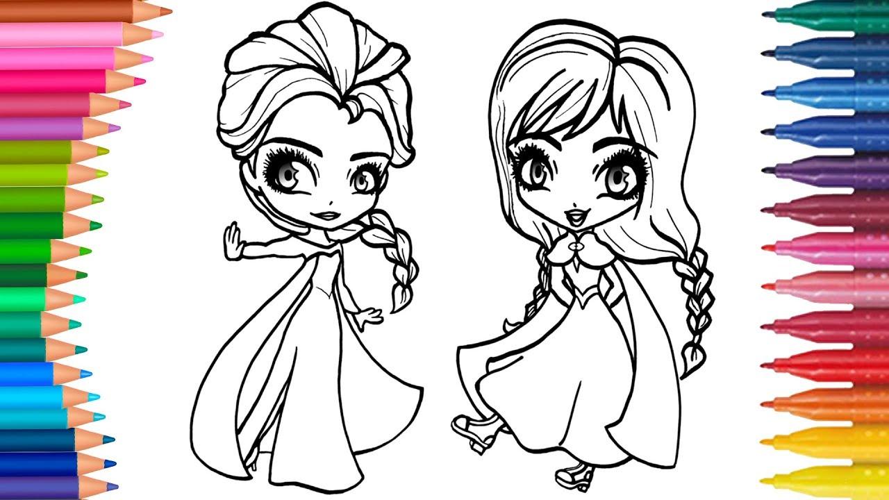 Dibujar Y Colorea Elsa Y Anna Frozen Dibujos Para Niños Aprender