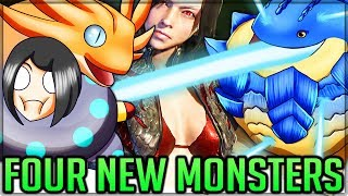 Four New Monsters - METEOR BOOMERANGS - Giant Weapons VS Pro/Noob - Monster Hunter World PC Mods!