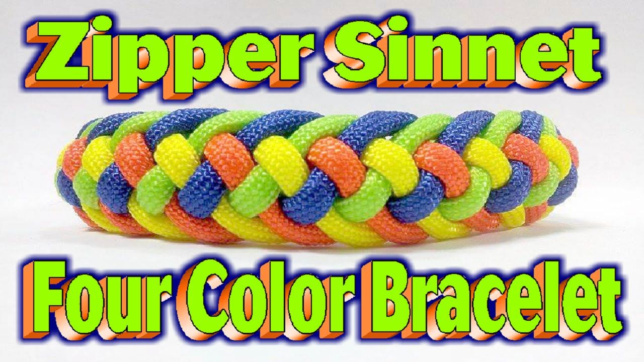 How to make a paracord skittles modified four strand zipper sinnet 4 colors bracelet youtube