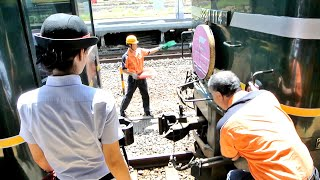 上りトワイライトエクスプレスの敦賀駅での機関車交換。(連結作業) 連結...