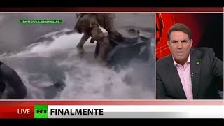 Watch agent's dangerous leap onto narco submarine
