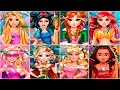 Rapunzel Anna Elsa Barbie Ariel Aurora Moana Snow White Real Haircuts Dress Up Games Compilation