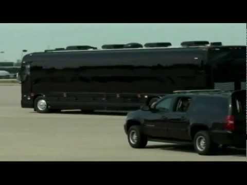 US PRESIDENT OBAMA'S NEW ARMORED BLACK BUS.