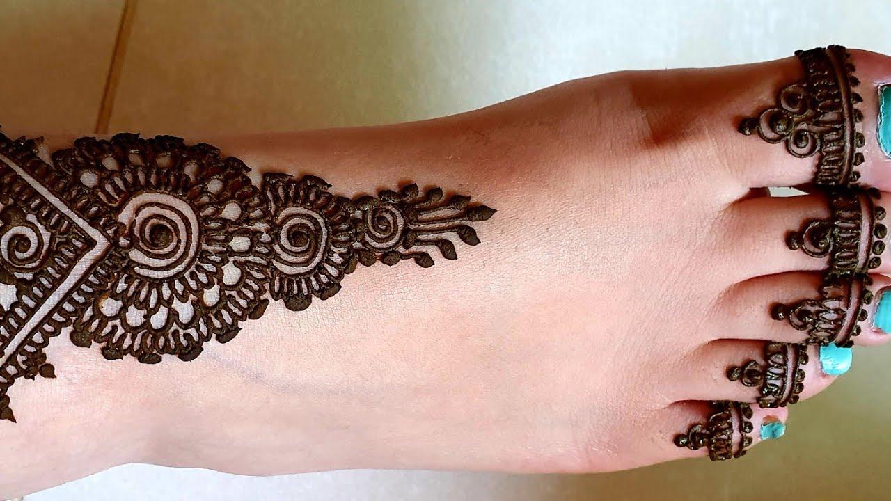 حناء صبيع خفيف في الرجل Draw A Light Henna On The Foot Youtube
