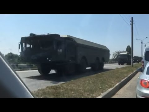 Russia relocates military vehicles in the occupied Crimea. 08.08.2016.