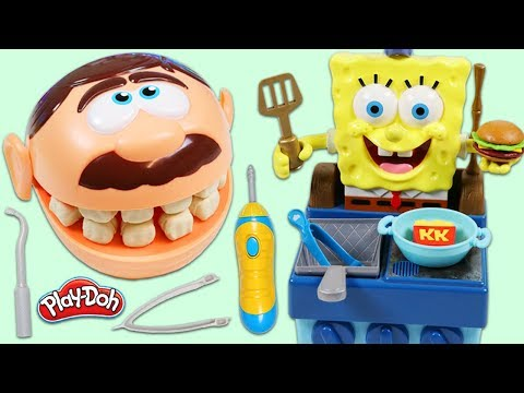 Feeding Mr. Play Doh Head with SpongeBob SquarePants Krabby Patty Grill!