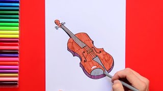 How to draw and color a Violin