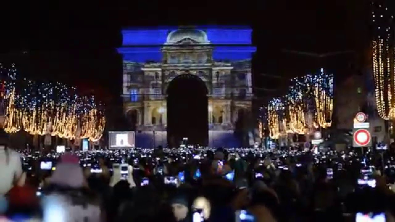 arc de triomphe nouvel an 2016 new year 2016 paris youtube. Black Bedroom Furniture Sets. Home Design Ideas