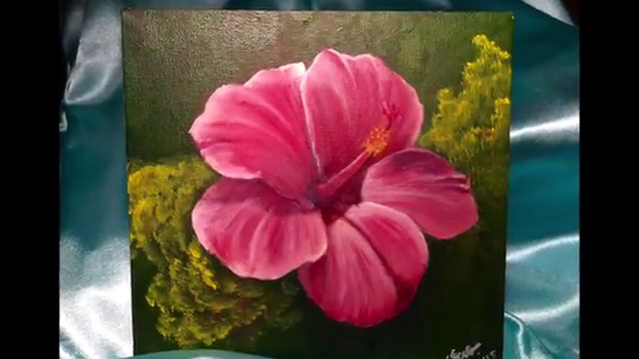 Acrylic painting hibiscus flower doovi for Flower paintings on canvas