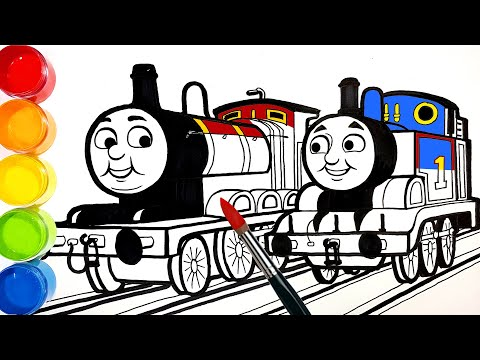 Draw THOMAS vs JAMES . Learn Colors . Drawing Painting Coloring Pages for Kids