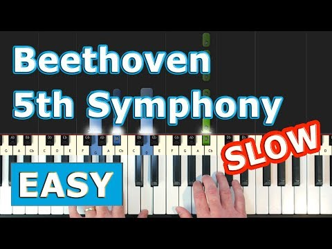 Beethoven Symphony 5 - SLOW EASY Piano Tutorial - 5th Symphony - Sheet Music (Synthesia) thumbnail