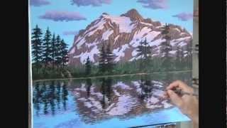 Как рисовать горы снег озеро использовании акрил
