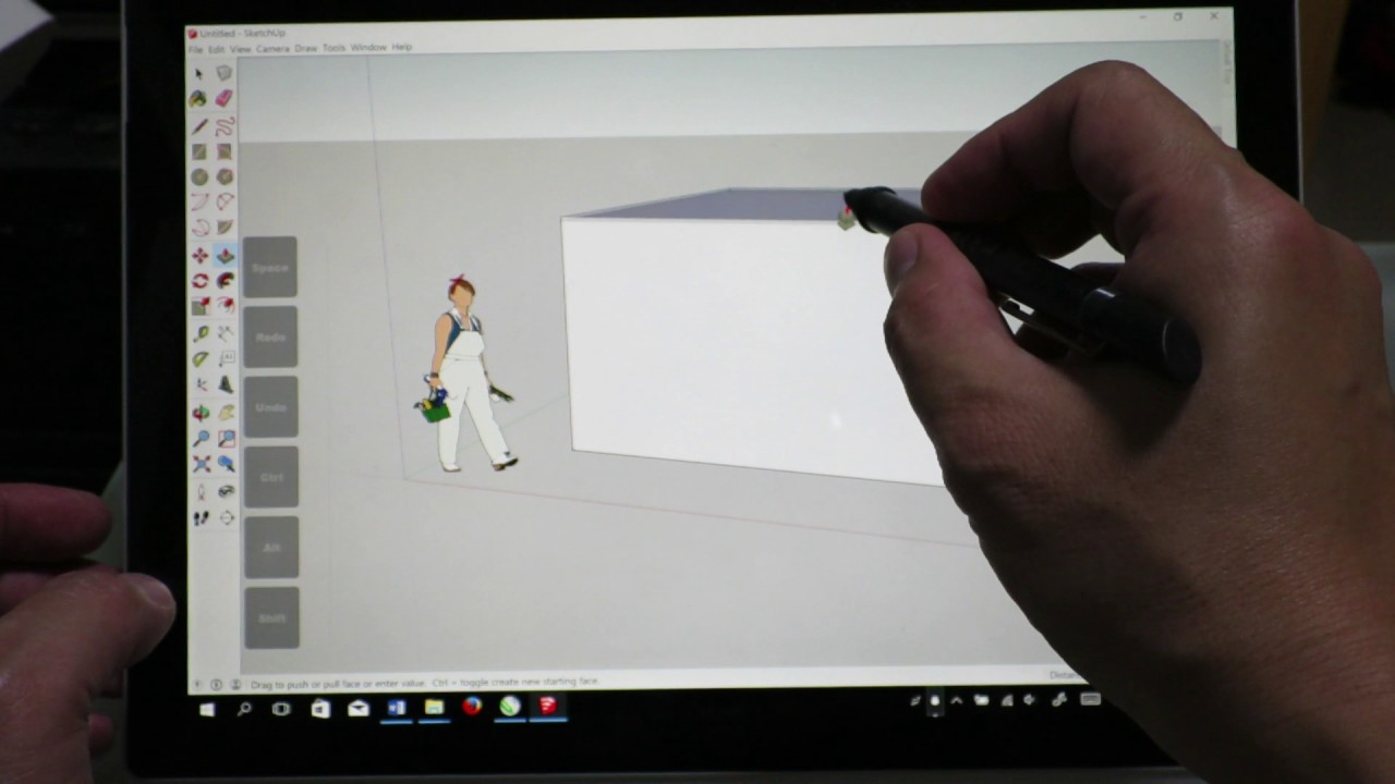 new surface pro 5 using stylus without keyboard running sketchup 2016 and tabletpro youtube. Black Bedroom Furniture Sets. Home Design Ideas