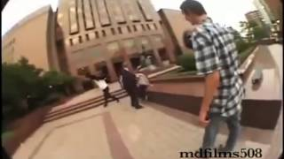 skater vs securitycop fist fight and skater wins