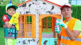 Jason repairs broken playhouses