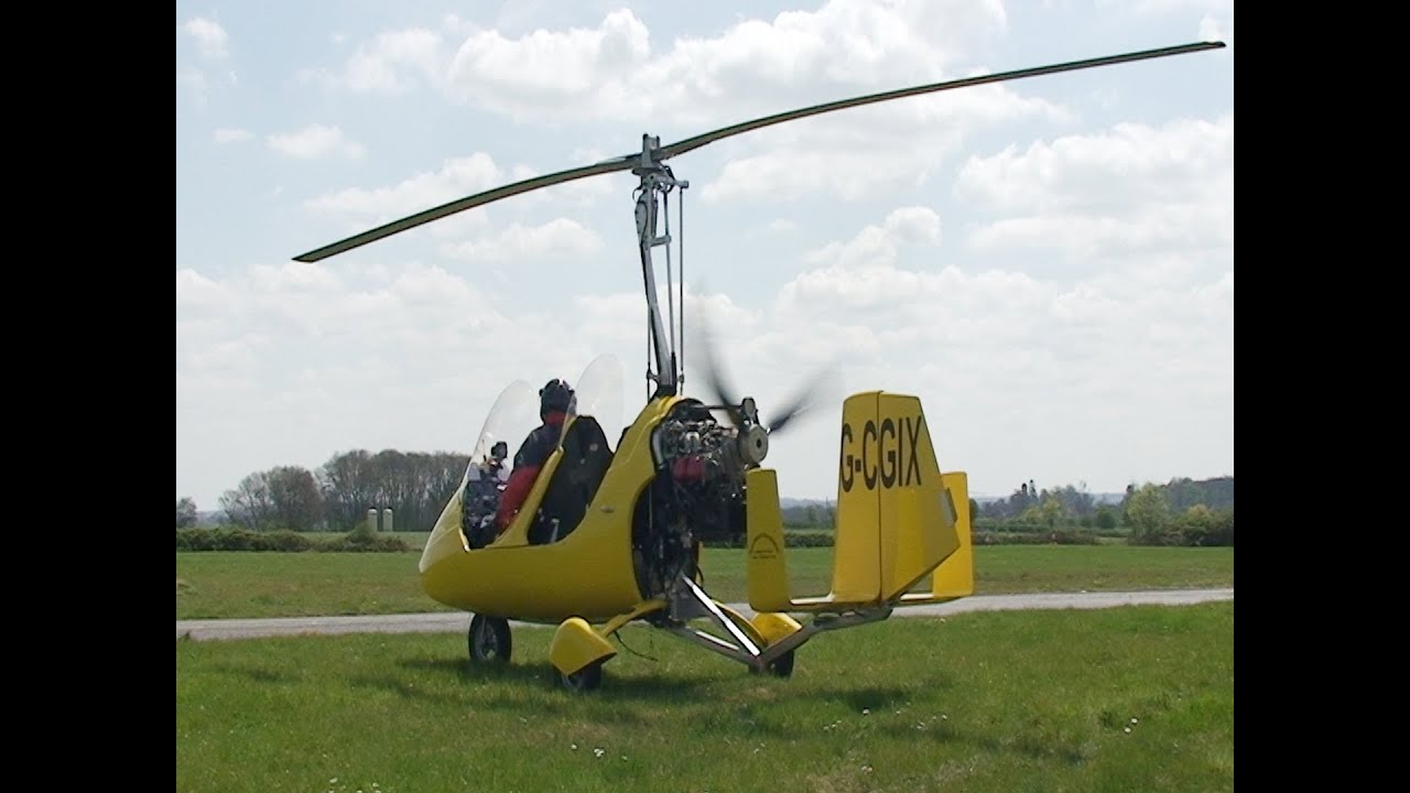 Gyrocopter Start up and take off - YouTube