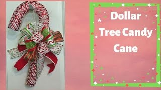 How to make a Candy Cane with Ribbon and Dollar Tree Candy Cane Form
