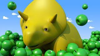 NAUKA KOLORÓW: Zbieramy Owoce! - ucz się z Dino dinozaurem 👶 Bajki Edukacyjne dla Dzieci