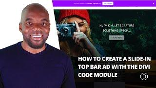 Comment Créer un diaporama dans la Barre Supérieure Ad avec la Divi Module de Code.