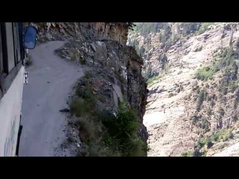 Dangerous Road Of Himalayas.  HRTC Bus on one of world toughest track. pangi chamba