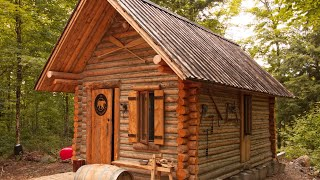 Log Cabin TIMELAPSE Built By ONE MAN In The Forest (Real Life Minecraft)