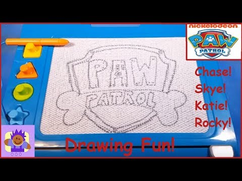 Fisher Price Doodle Pro Paw Patrol Magnetic Board Drawings Chase Skye Katie Rocky Part 1