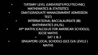 Math Tuition (Uni Courses, GMAT, IB, AP(Calculus), SAT, & GCE O/A Level)