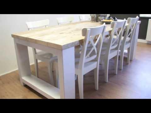 Steigerhouten tafel millau met extra dikke planken en Steigerhouten tafel met steigerbuizen zelf maken