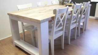 Steigerhouten tafel Millau met extra dikke planken en witte poten