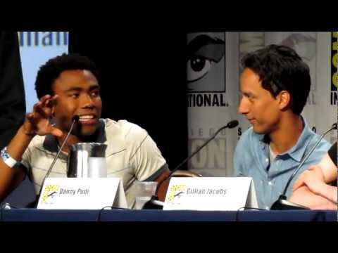 Donald Glover and Danny Pudi do the Troy and Abed Handshake