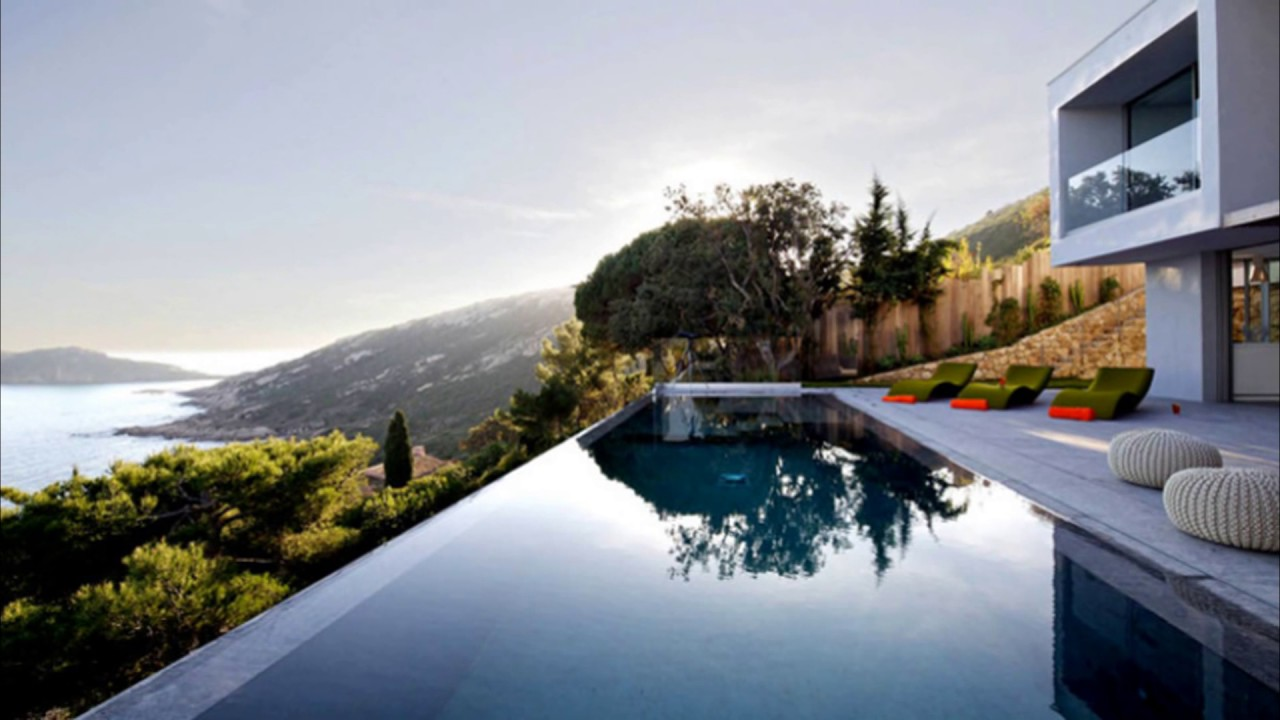 Minimalist swimming pool in modern home youtube for Minimalist house with swimming pool