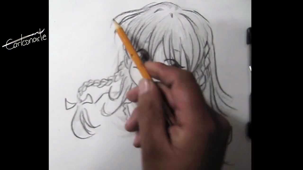 Cómo dibujar anime o manga - Dibujo a lápiz - chica - paso a paso ...