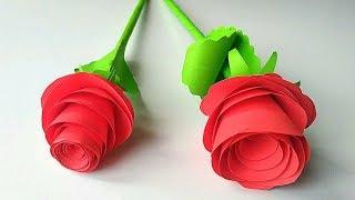 як зробити з паперу троянду легко без клею і ножиць
