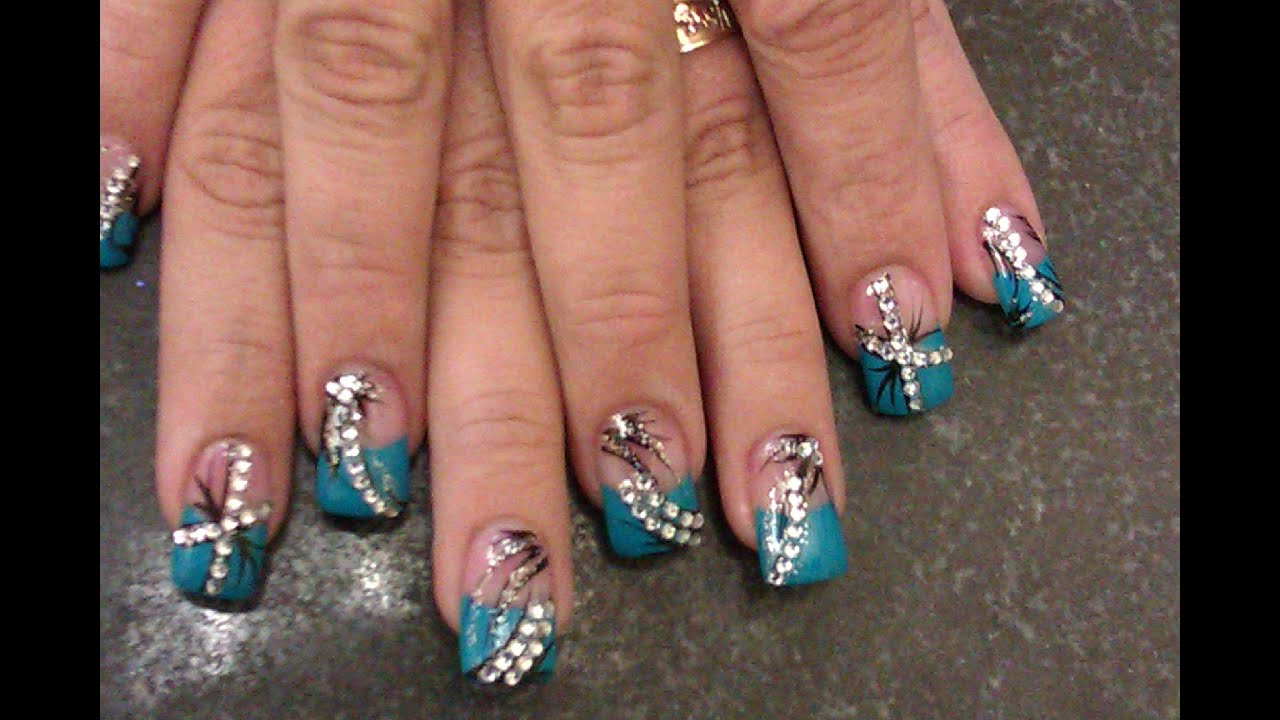 acrylic nails turquoise color