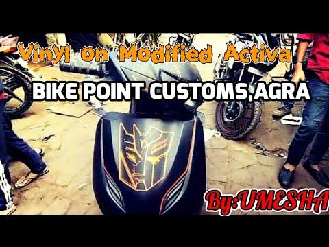 Activa modified/ black n orange  matte /Bike Point Customs Agra